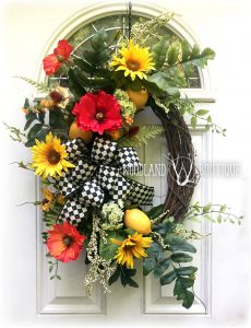 Lemon Poppy Sunflower wreath