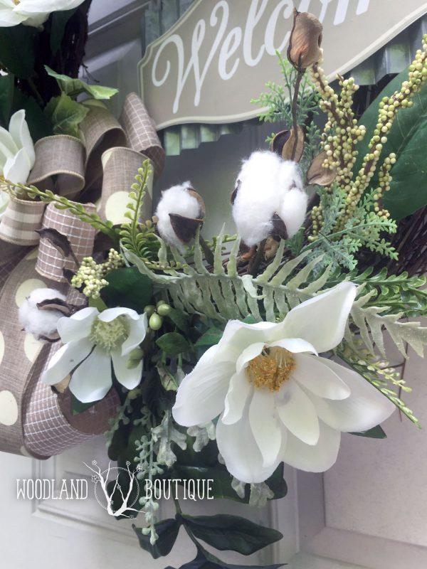 Southern Magnolia Cotton Wreath