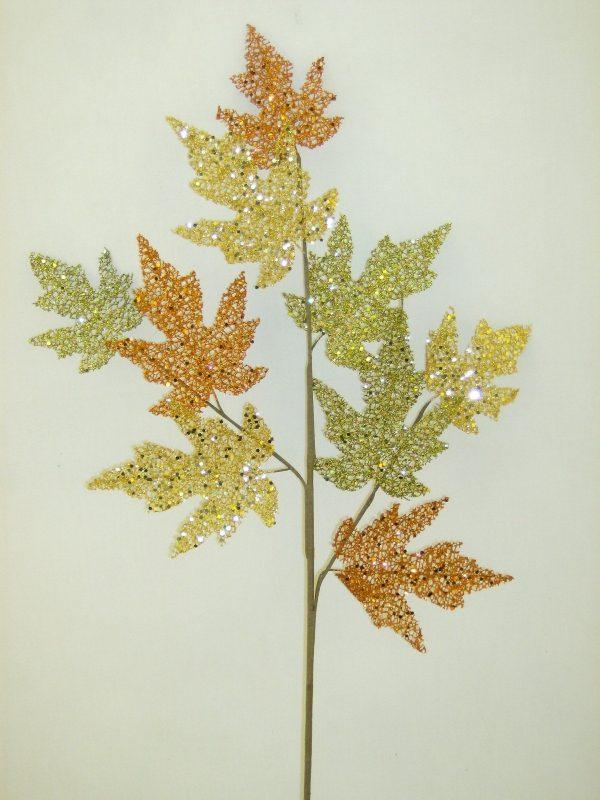 Glittered Leaves Spray