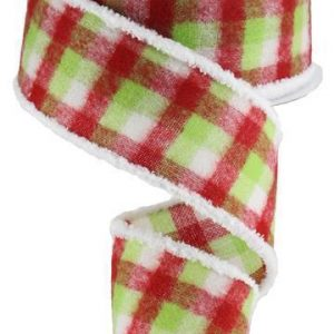 Red/Lime Fuzzy Flannel Ribbon