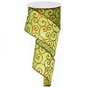 Lime/Red Scroll Ribbon