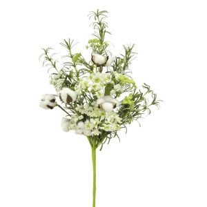 Cotton, Greenery & Flower Bush - 22""