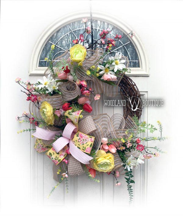 Spring Cherry Blossom & Mesh Wreath