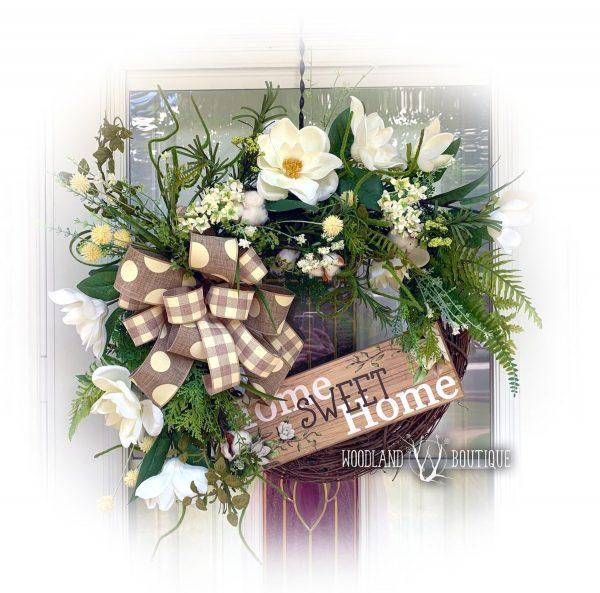 Magnolia, Fern, Cotton Wreath