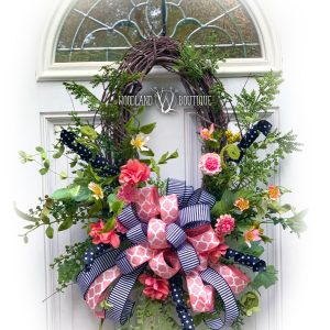 Watermelon Wildflower Oval Wreath