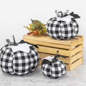 Buffalo Plaid Fabric Pumpkins (choose size)