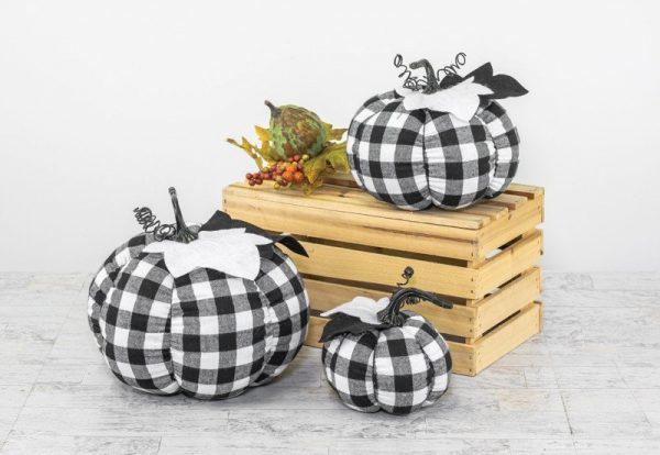 Buffalo Plaid Fabric Pumpkins (choose size)