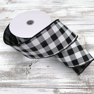 "Black and White Buffalo Plaid Ribbon - 2.5"" x 10 yards"