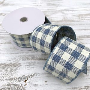 "Blue and Cream Buffalo Plaid Ribbon - 2.5"" x 10 yards"