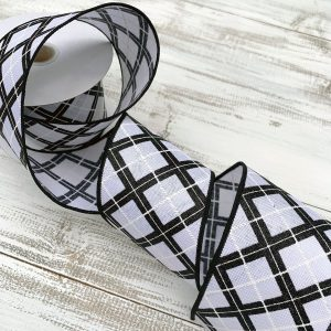 "Black/White Glitter Argyle Plaid Ribbon - 2.5"" x 10 yards"