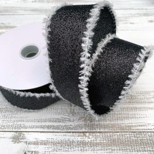 "Black Glitter w/Snow Ribbon - 1.5"" x 10 yards"