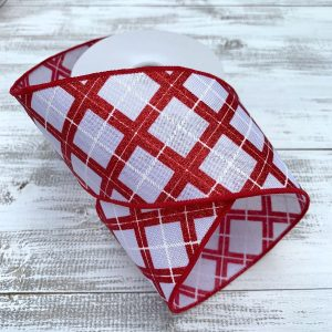 "Red/White Glitter Argyle Plaid Ribbon - 2.5"" x 10 yards"