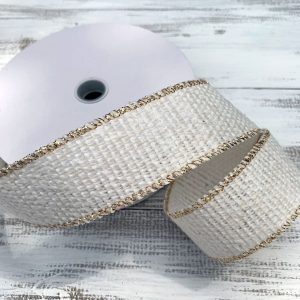"Cream/Gold Cozy Sweater Ribbon - 1.5"" x 10 yards"