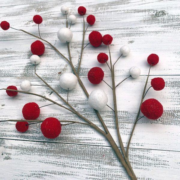 """Red/White Felt Ball Spray - 27"""""""