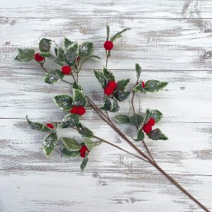 Holly spray with Felt Berries - 24""