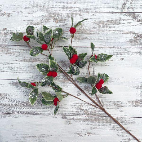 """Holly spray with Felt Berries - 24"""""""
