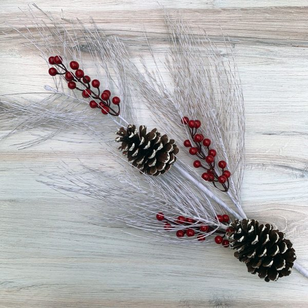 "Birch Pine Berry Spray - 33"""