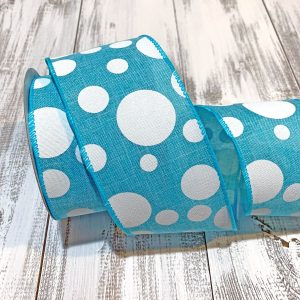 "Turquoise Polka Dot Ribbon - 2.5"" x 10 yards"