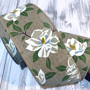 "Blooming Magnolia Ribbon - 2.5"" x 10 yards"