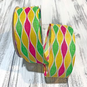 "Lime/Pink/Yellow Wave Stripe Ribbon - 1.5"" x 10 yards"