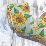 Sunflowers on Ivory Linen Ribbon - 2.5