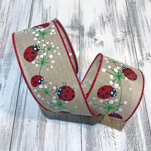 "Ladybugs on Dandelions Linen Ribbon - 2.5"" x 10 yards"