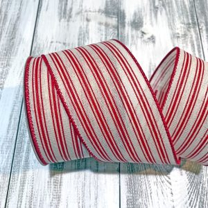 "Cream/Red Ticking Stripe Ribbon - 2.5"" x 10 yards"