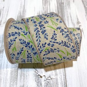 "Blue Hyacinth Linen Ribbon - 2.5"" x 10 yards"
