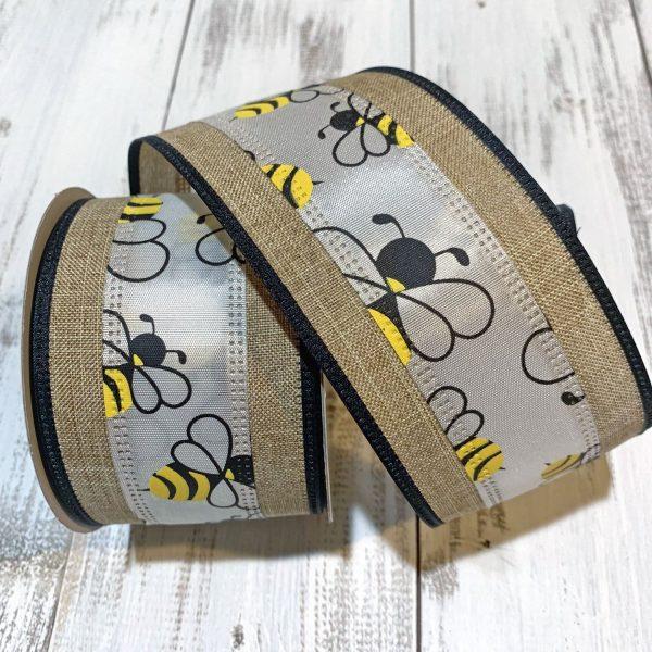 "Bumble Bee Stripe Linen Ribbon - 2.5"" x 10 yards"