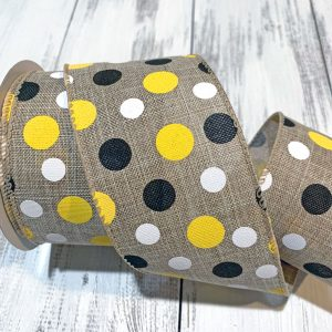 "Blk/Yel/Wht Polka Dot Ribbon - 2.5"" x 10 yards"