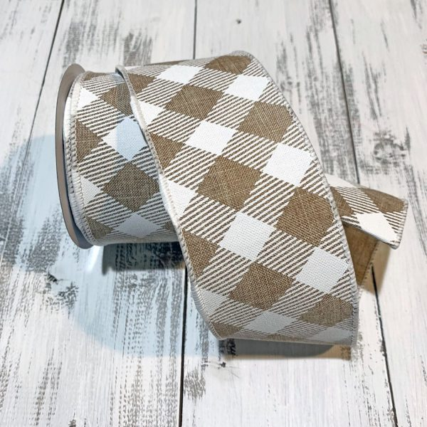 "Tan/White Diagonal Argyle Ribbon - 2.5"" x 10 yards"