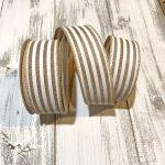 "Tan/White Cabana Stripe Ribbon - 1.5"" x 10 yards"