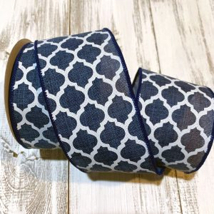 "Navy Blue Quatrefoil Ribbon - 2.5"" x 10 yards"
