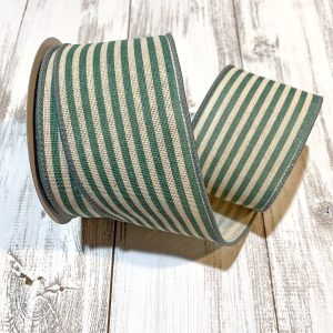 "Ivory/Teal Cabana Stripe Ribbon - 2.5"" x 10 yards"