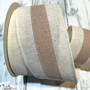 "Cream/Tan Center Stripe Ribbon - 2.5"" x 10 yards"