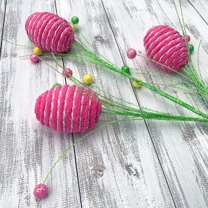 Yarn-Wrapped Easter Egg Spray - 28""
