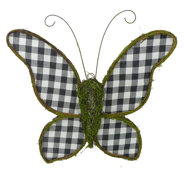 "Buffalo Plaid Moss Butterfly - 21"" (plus bonus)"