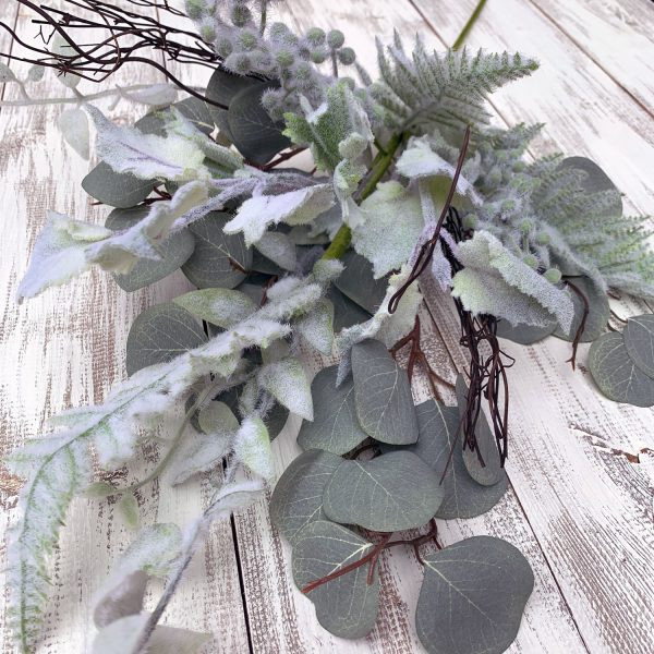"Flocked Mixed Leaves Spray - 30"""