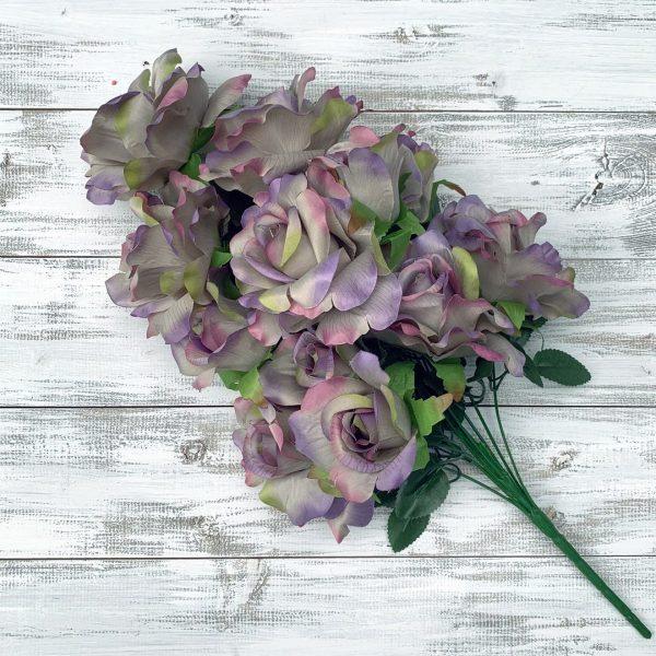 Rose Bush - Lavender/Green/Pink x 12
