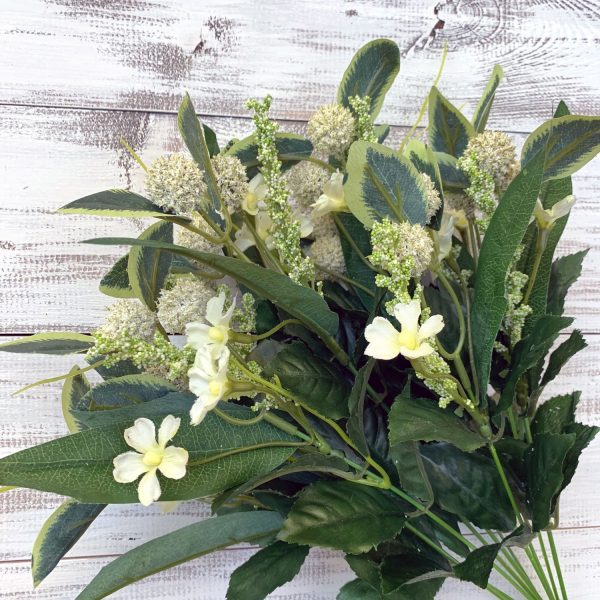 "Cream Mini Flower & Thistle Bush x 10 - 17"""
