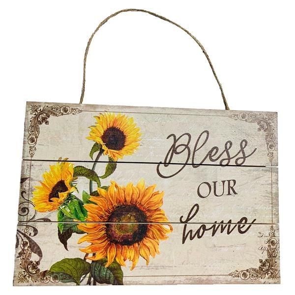 Bless Our Home Sunflower Sign