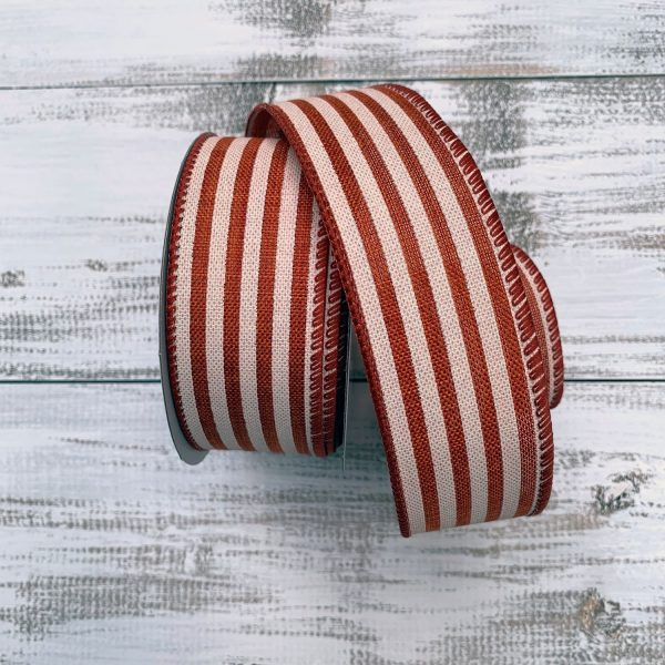 "Rust/Ivory Cabana Stripe Ribbon - 1.5"" x 10 yards"