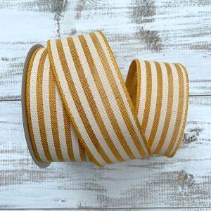 "Yellow/Ivory Cabana Stripe Ribbon - 1.5"" x 10 yards"