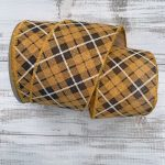 Yellow/Brown Argyle Plaid Ribbon – 2.5″ x 10 yards