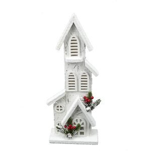 Tall White Church w/5 LED Lights