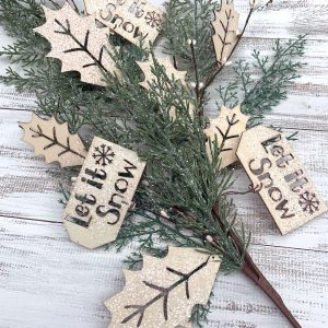 Wood Tag, Holly & Cedar Spray