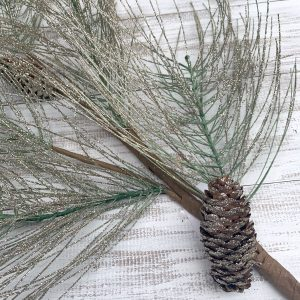 Glittered Long Needle Pine Spray