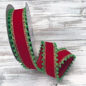 Red Velvet w/Green Ball Edge Ribbon