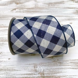Navy/White Diagonal Plaid Ribbon