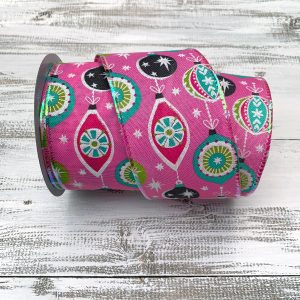 Pink/Mint/Teal Retro Ornaments Ribbon